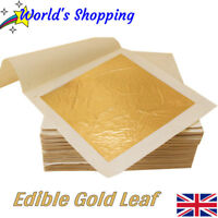 Edible Gold! 10x Edible Gold Leaf Sheets - 24 Carat Pure Gold Leaf - UK Dispatch