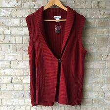 NWOT Serengeti Catalog Maroon Sweater Vest Size XL One Button Knit Warm