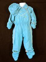Baby Toddler Blue Nylon Snowsuit and Hat Quilted Lining Childs Vintage 1950s