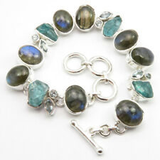 925 Solid Silver Rare Blue Fire LABRADORITE & Other Gemstone Bracelet 7.8 Inches