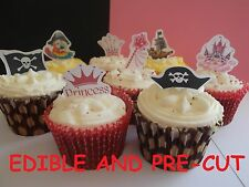pirate and princess birthday X24 edible stand up cup cake toppers wafer paper