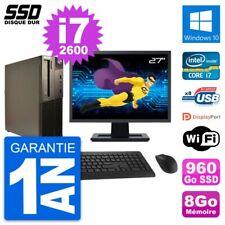 """PC LENOVO M82 SFF Screen 27 """" Intel Core i7-2600 RAM 8Go SSD 960Go Windows 10"""