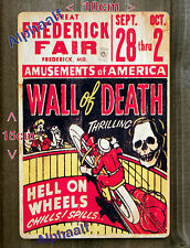 Wall of Death Side Show Repro USA Aluminium Sign 10 x 15cm Fairground Showman