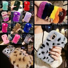 for Samsung S8 S9 S10 S20+ Note 8 9 10 20 Plush Bunny Fluffy Real Fur Phone Case