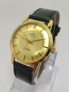 HMT SONA Hand Winding Men's Wrist Watch Gold Plated Made in Japan