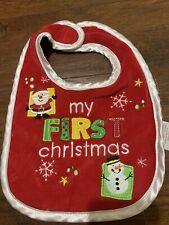"Baby Bib Christmas Theme ""My First Christmas "" Santa Snowman Character"