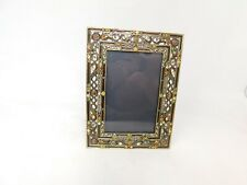 Pottery Barn Brass Rhinestone Picture Frame 4 x 6 Heavy Ornate Baroque