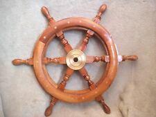 "20"" Real Nautical Wooden Ship Steering Wheel Wood Brass Fishing Boat"