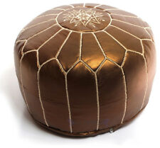 Free Express Shipping BRONZE MOROCCAN POUF OTTOMAN METALLIC LEATHER  POUF POUFFE