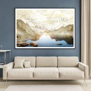 Lake Between Mountain Scenery Print Premium Poster High Quality choose sizes