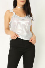 NEW WOMENS LADIES FOILED RUFFLED STRAPPY CAMI FRILL EVENING PARTY VEST TOP 8-14