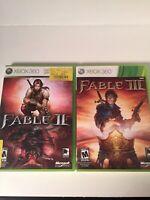 Fable II 2 and Fable III 3 (Microsoft Xbox 360) 2 Disc Lot Both Complete CIB