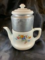 Vintage Porcelier Coffee Pot with Drip-O-Later & Lid Floral Design B750