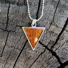 Koa Wood Hawaiian Scroll Arrow Tip Silver Rhodium Plate Brass Pendant BRP1081