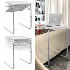 2 PC White Smart Table Folding Adjustable Foldable Desk W/Cup Tray Home Office