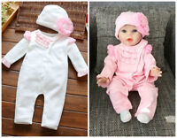 Newborn infant baby girls bodysuit & hat outfits cotton jumpers baby shower gift