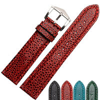 18mm 20mm Padded Genuine Leather Lizard Grain Pattern Watch Band Strap Buckle NW