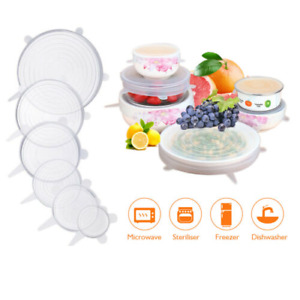 6Pcs Stretch Silicone Lids Bowl Reusable Kitchen Food Storage Wrap Sealing Cover