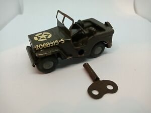 Triang Minic Toys US Army Tinplate Clockwork Jeep With Key/Working.