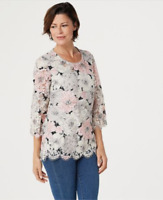 Isaac Mizrahi Live! Floral Printed Lace 3/4-Sleeve Knit Top - Neutral - 1X