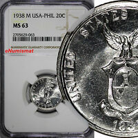 Philippines U.S. Administration Silver 1938-M 20 Centavos NGC MS63 LUSTER KM#182
