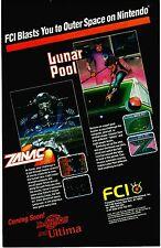 Vintage 1987 FCI Nintendo NES ZANAC & Lunar Pool video game print ad page