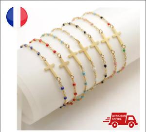 Bracelet Chapelet Maille Perles Fines Résine Couleurs Cadeau Plaqué Or Gigi2