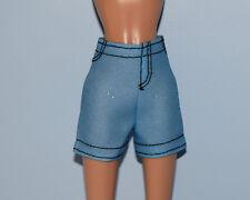 Medium Blue Denim Jeans Shorts w/ Black Thread Trim & Glitter Genuine Barbie