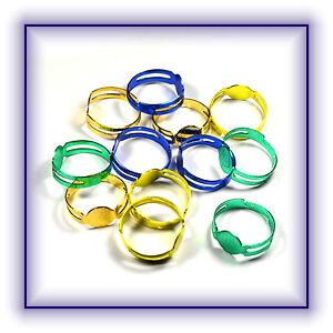 Ring Fingerring Rohling 5 Stück grün blau gelb orange verstellbar Neu