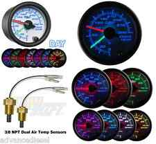 GlowShift White 7 Color 300F Dual Air Intake Temperature Gauge GS-W720