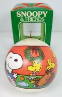 1982 Snoopy & Friends Satin Ornament Happy Holidays Christmas Dinner Determined
