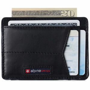 Alpine Swiss Men RFID Safe Minimalist Front Pocket Wallet Small Slim Card Holder