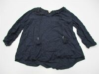 MERONA T4342 Women's Size XS Embroidered Tassel Tie Navy Blouse Blouse Top