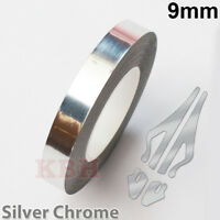 "9mm Self Adhesive Coachline Pin Stripe Vinyl Tape Sticker 3/8"" CHROME SILVER"