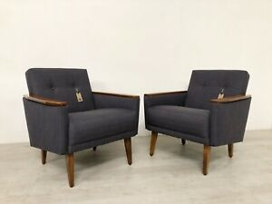MATCHING PAIR OF HANDMADE VINTAGE DANISH INSPIRED COCKTAIL LOUNGE CHAIRS IN TEAK