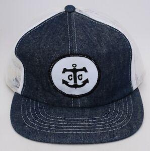 Anchor Patch with C C Trucker Denim Baseball Cap Hat M/L Adjustable Snapback