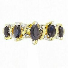 14k Yellow Gold Marquise Sapphire and Diamond Ring (size 7)