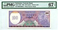 SURINAME 100 GULDEN 1985 CENTRAL BANK PICK 128 b  LUCKY MONEY VALUE $67