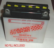 """New 12N5.5-4B Motorcycle Battery 12V 5.25w X 2.5"""" X 5"""" tall No Acid Included"""