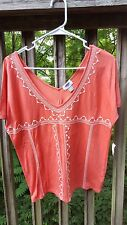Old Navy women's xs deep v neck blouse embroidery nwt