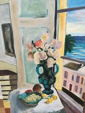 VINTAGE STYLISED FLORAL STILL LIFE OIL PAINTING ON CANVAS BLOOMSBURY COLOUR