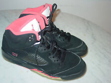 2010 Nike Air Jordan Retro 5 Black/Alarming Red Suede Youth Shoes! Size 6.5Y