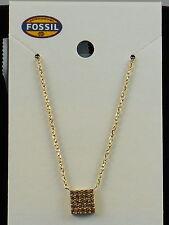 Fossil Brand Goldtone GLITZ PENDANTS Champagne Pave' Square Pendant Necklace