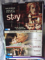 STAY & BEE SEASON  1  SHEET MOVIE POSTER DOUBLE BILL VIDEO VERSION