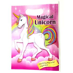 Unicorn Party Bags Happy Birthday Kids Girls Pink Loot Bag Pack Of 10