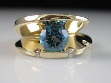 14K Blue Topaz Diamond Ring Modern Contemporary Tension Set Frank Reubel Size 7