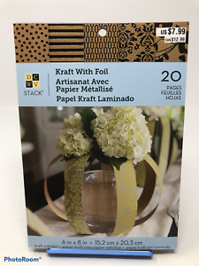 """DCWV Paper Stack Cardstock 20 Sheets Gold Kraft with Foil Scrapbooking 6"""" x 8"""""""