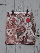 TATTOOED femme jupe-Taille 8 10 12-Imprimé Numérique Rétro Bodycon