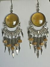 Yellow Jade Chandelier Earrings New Listing-Sale-Hand-Crafted Amber Glass &
