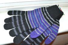 PAUL SMITH  Men's Knit Gloves Purple Grey Black Striped New w Tags Great Gift!